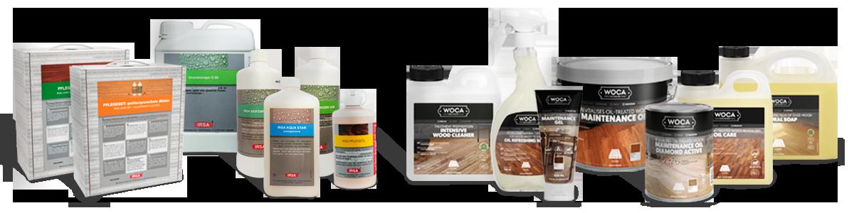 Pflegemittel und Reinigungsmittel für Parkett Laminat und Vinylboden von IRSA und WOCA
